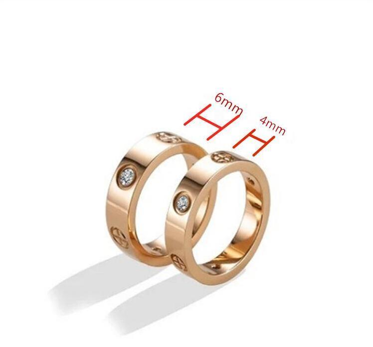 Anelli in acciaio inox in acciaio inox per donne Gioielli da donna Cubici zirconi in oro argento oro rosa anelli con sacchetto rosso 4mm 6mm