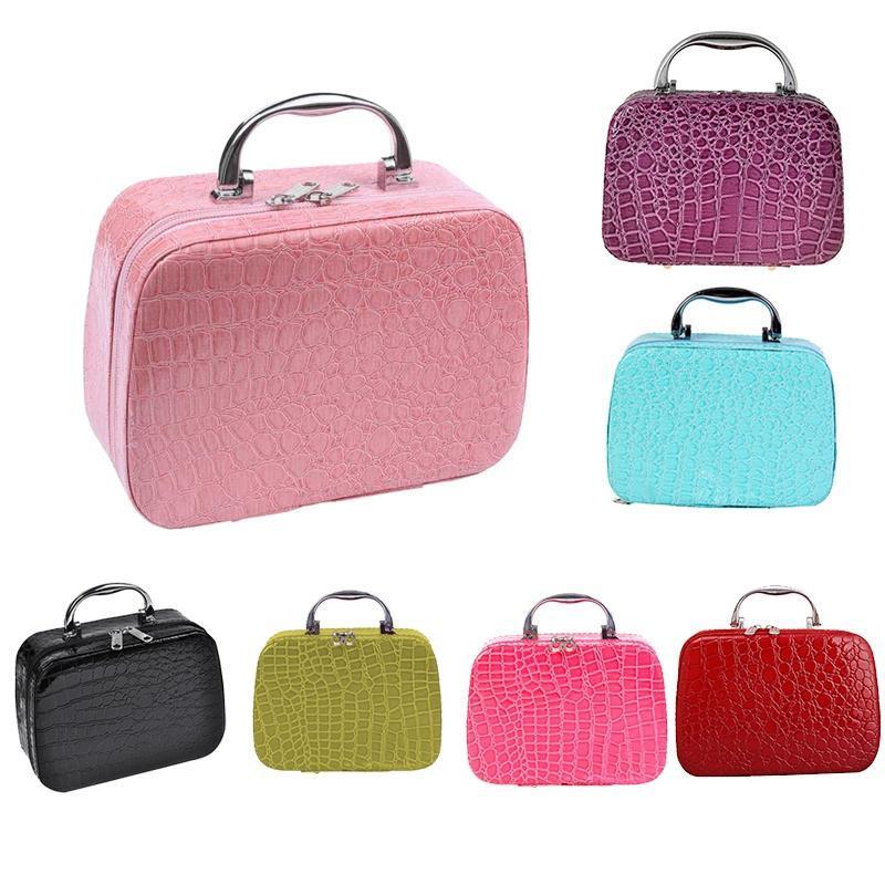 Damas esteticista maquillaje caja de viaje bolso de viaje PU almacenamiento elegante caja