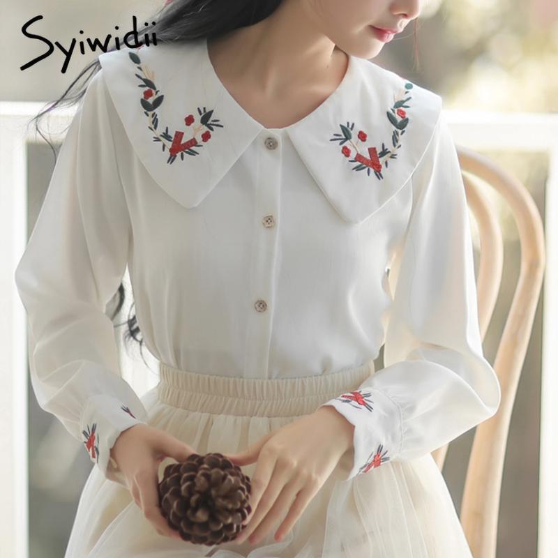 Bordado Vintage Blusas Floral para Mulheres 2021 Primavera Chiffon Blusa Branco Lanterna Preta Manga Longa Camisas Bonitos 90s