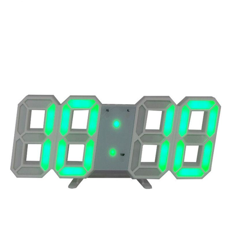 1pcs / lot Großhandel 3D LED Wanduhr Digital Wecker Datum Temperatur Alarm Schreibtisch Tischuhr