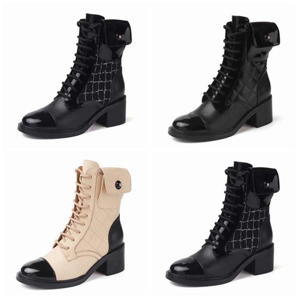 2021 Vendre de la mode Mode Femmes Half Bottes Véritables Bottes de neige en cuir véritables Lettres rondes Head Head Boot pour bottillons de cow-boy Home011 02