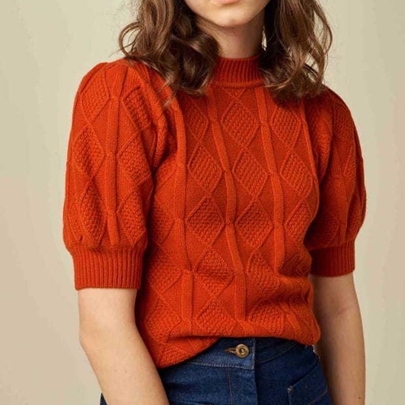 2020 Temprano de punto de otoño suéter de punto Lady Diamond Plaid Rojo rojo Sopago Soporte Suéter Pullover Top Femenino fondo de punto de punto