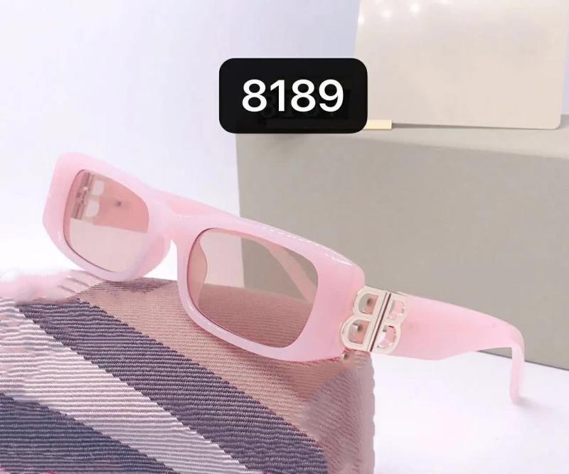 Официальные 8189 Популярные Солнцезащитные очки Дизайнер Солнцезащитные Очки Металлическая буква BB Солнцезащитные Очки Квадратные Рамки Солнцезащитные Очки Точное качество