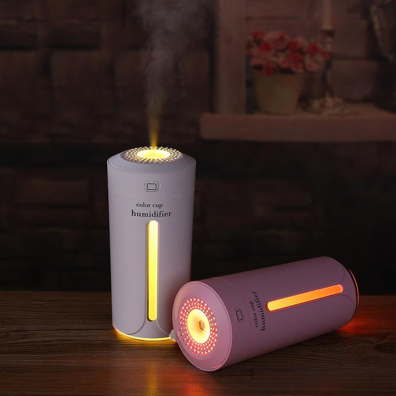 Ultrasuoni Aria Umidificatore Aroma Essenziale Diffusore di olio essenziale con luci a LED Mist Maker Umidificatori USB portatili per Home Hotel Auto Bedroom