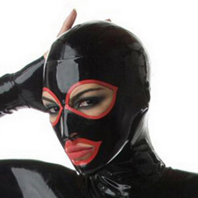 Kırmızı Trim Kırmızı Zentai Fetiş özelleştirme Boyutu Xs-xxl ile Unisex Moda İç Exotic Kulübü Wear Siyah Lateks Açık Gözler Ağız Davlumbazlar