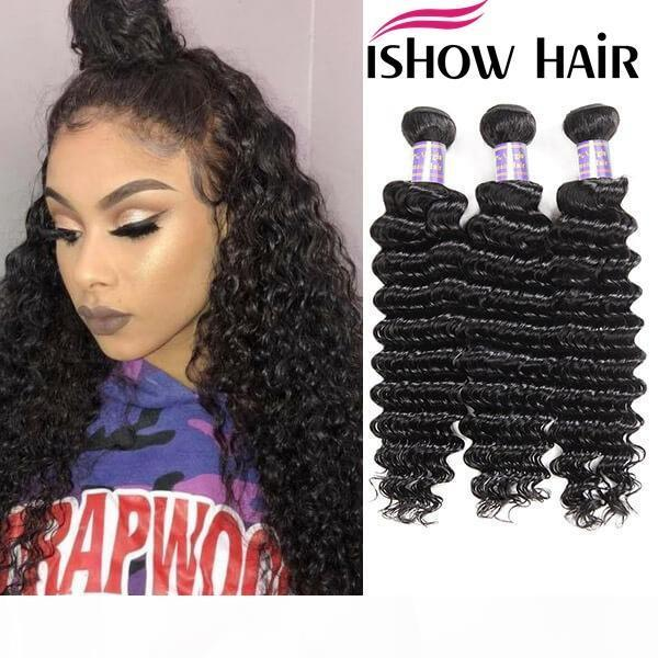 Волосы волос для перуанских волос ishow 3 пакета мокрые и волнистые свободные глубокие перуанские девственные волосы волосы волновые расширения бразильские пакеты человеческих волос