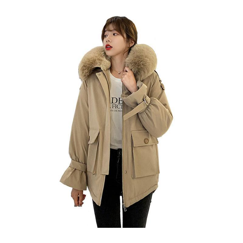 여성 중간 긴 겨울 자켓 모피 칼라 라이너 후드 방풍 바이오 다운 재킷 대형 코튼 패딩 파카 카 카 카로 여성