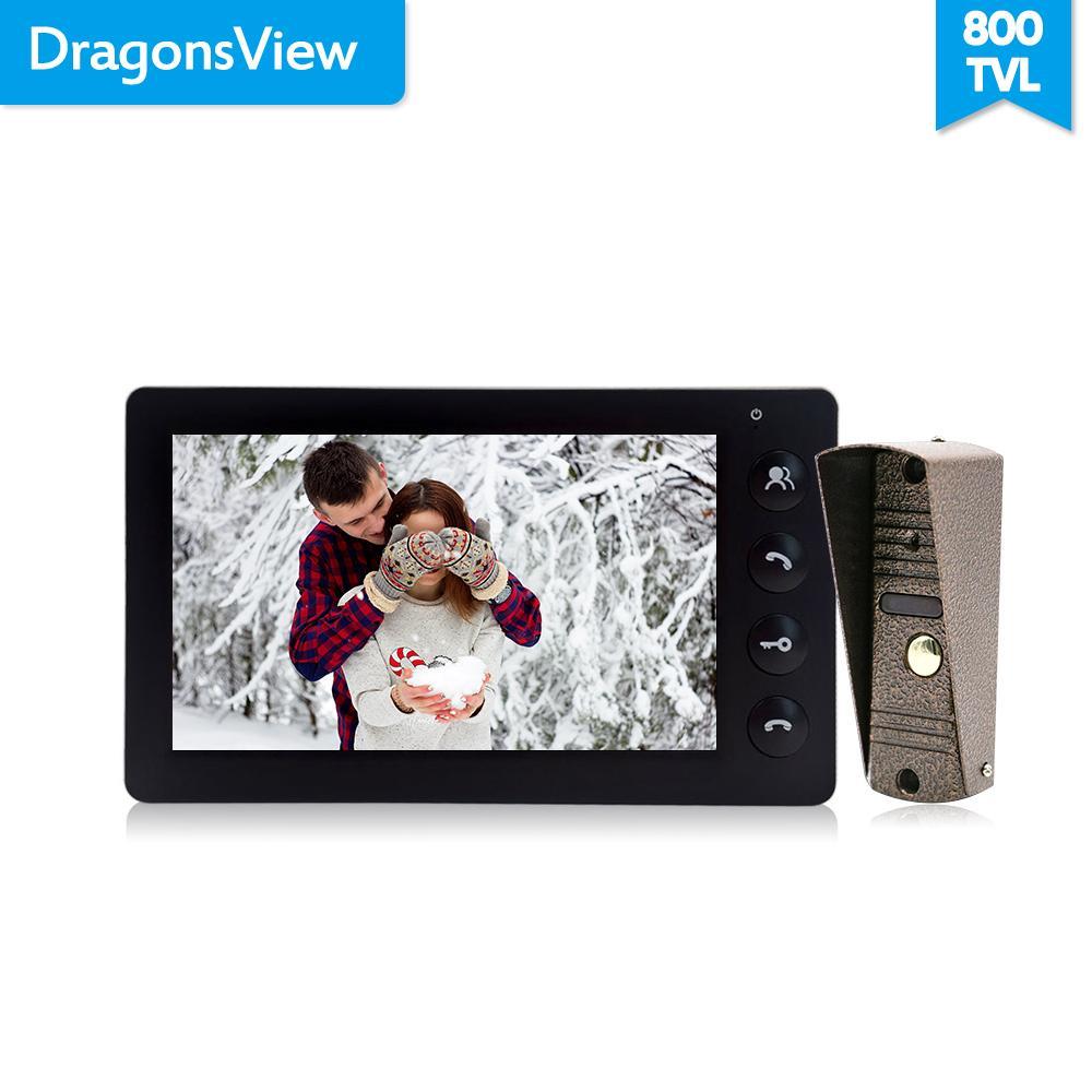 DragonsView Système d'interphone de téléphone vidéo vidéo 7 pouces Blanc / Noir Panneau d'entrée de porte vidéo pour Panneau d'appels de maison privé Y1128