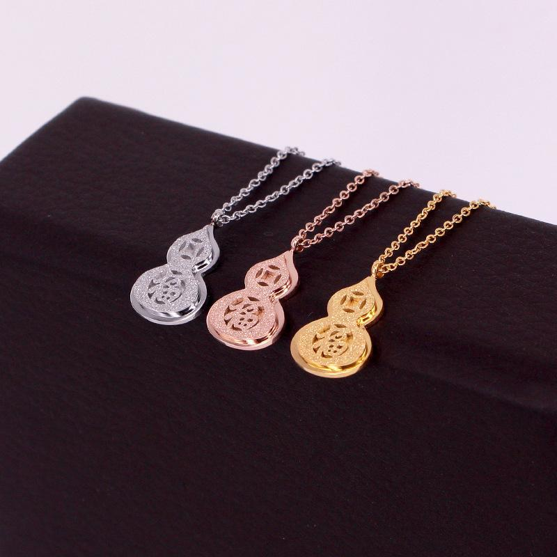 Frosted Copper Money Fu Character Gourd Pendant Necklace Transit Zodiac Year Fu Gourd Clavicle Chain For Women Jewelry
