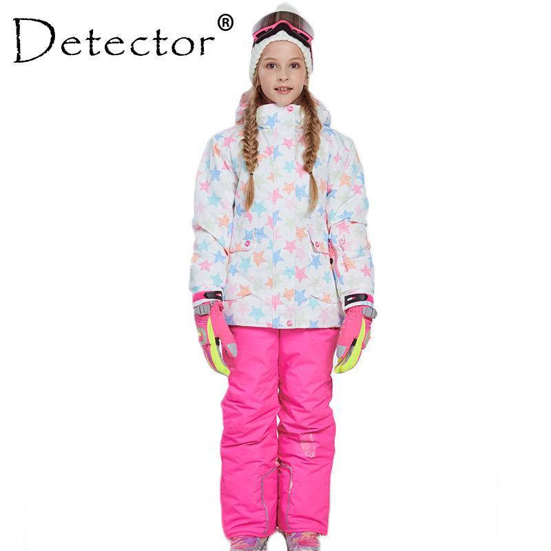 كاشف فتاة سترات التزلج وانت الشتاء الدافئة التزلج البدلة يندبروف قابلة للإزالة هود في الهواء الطلق ملابس الأطفال مجموعة أطفال مجموعات الثلوج 201203