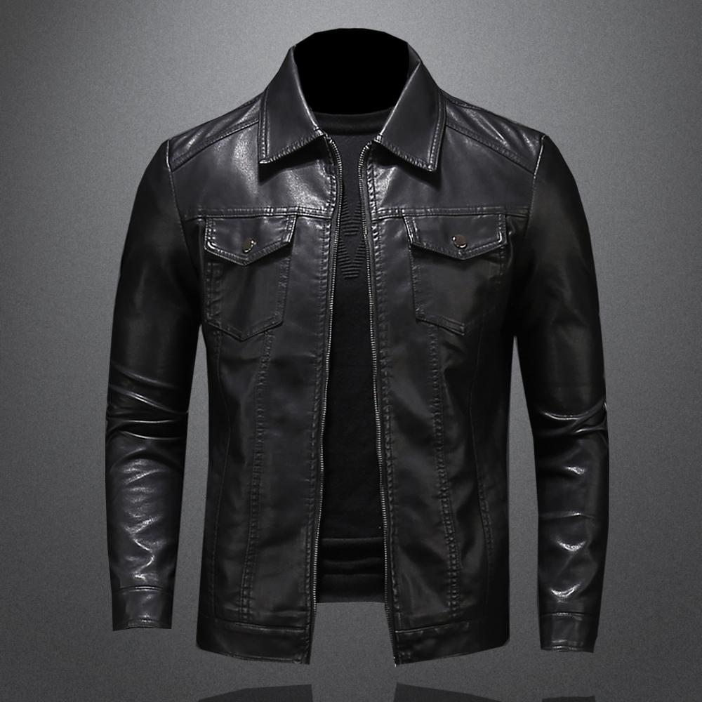 2020 Mens Leather Winter Streetwear Fashion Motorcycle Jacket Men Lapel Vintage Coat Outwear Chaquetas De Hombre