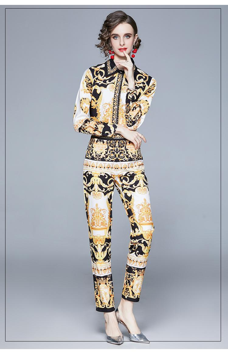 Mode Nouveau Totem Impression de deux pièces Pantalon de Femmes de Femmes Spring et Automne Dame Deux pièces Ensembles 2021 Fille's chemise Pants