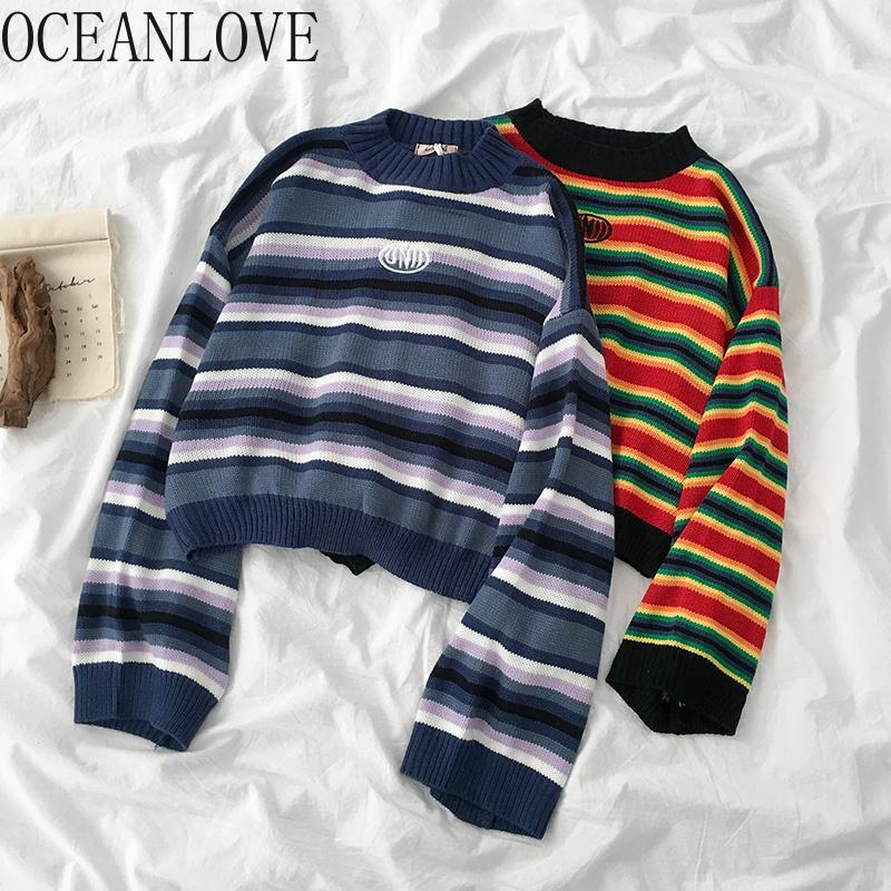 Oceanlove Осенние Зимние Свитера Женщины Все Матч Полосатый Радужный Студент Пуловеры Корейский Seher Mujer Мода 13314 201031