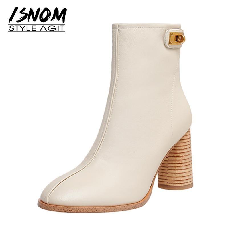 Botas isnom tobillo mujer cuero genuino zapatos ronda tacones altos botines damas elegante toe vestido de mujer