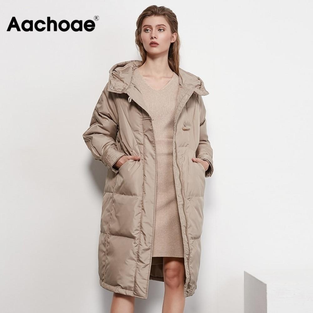Aachoae Autumn Winter Long White Duck Down Coat Women Long Sleeve Loose Casual Hooded Puffer Jacket Outerwear Femme Veste