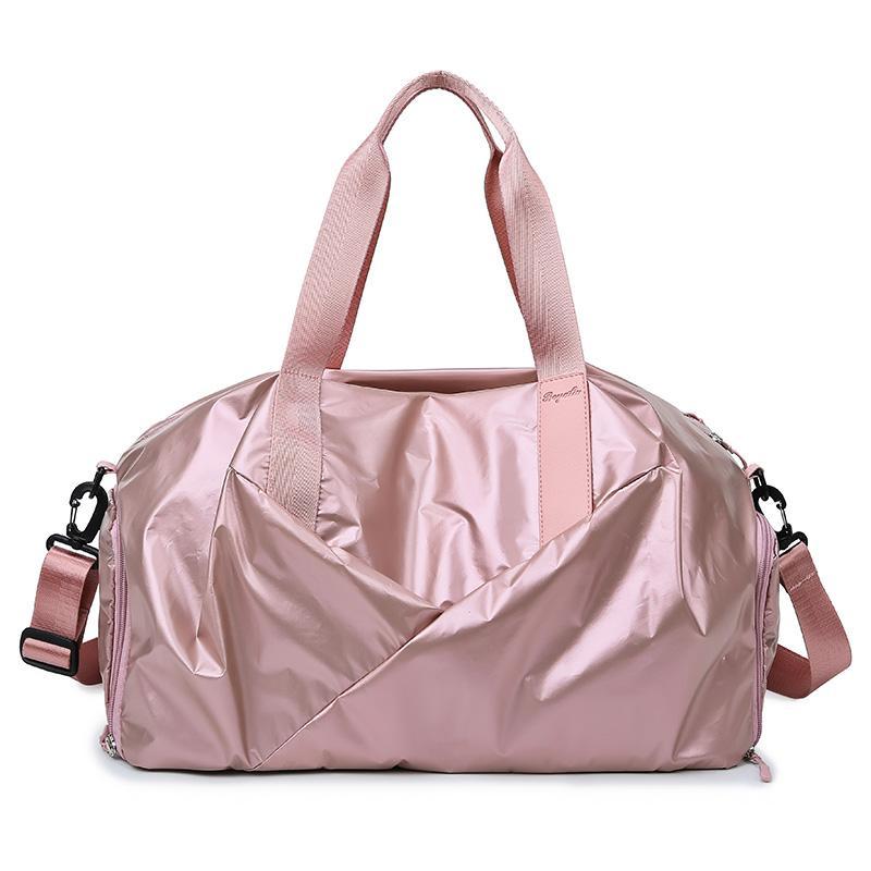 Su geçirmez Seyahat Çantaları Işık Renk Moda Uygun Büyük Kapasiteli Seyahat Çantası Bagaj Muhafazası Spor Çanta Gümüş Pembe Serin Çanta