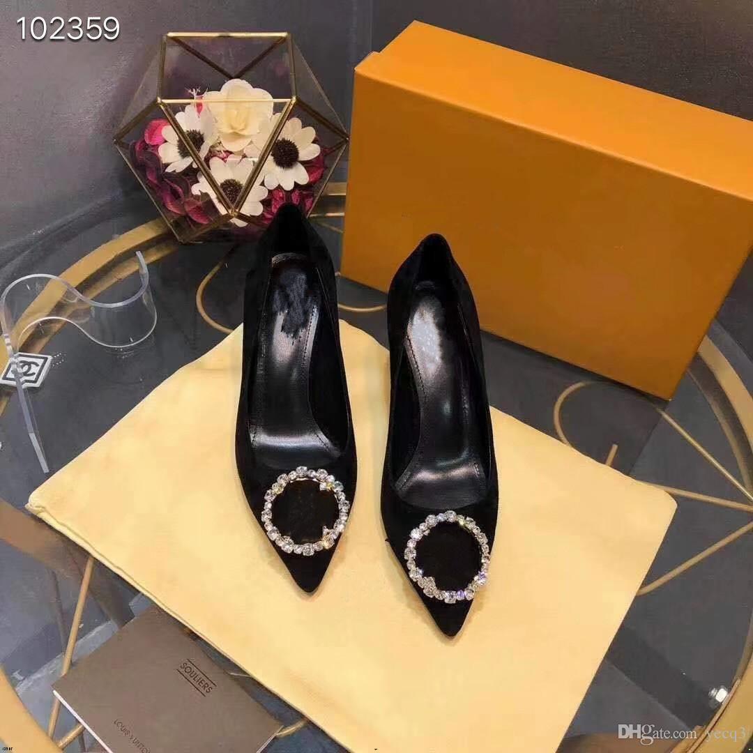 19FW 2020 Nuovo tacco alto Signore Square Tone Toe Shallow Bocca Shoes Moda Donna Thick Tacchi alti 2 pollici Ladies Autunno 2020 Yecq5