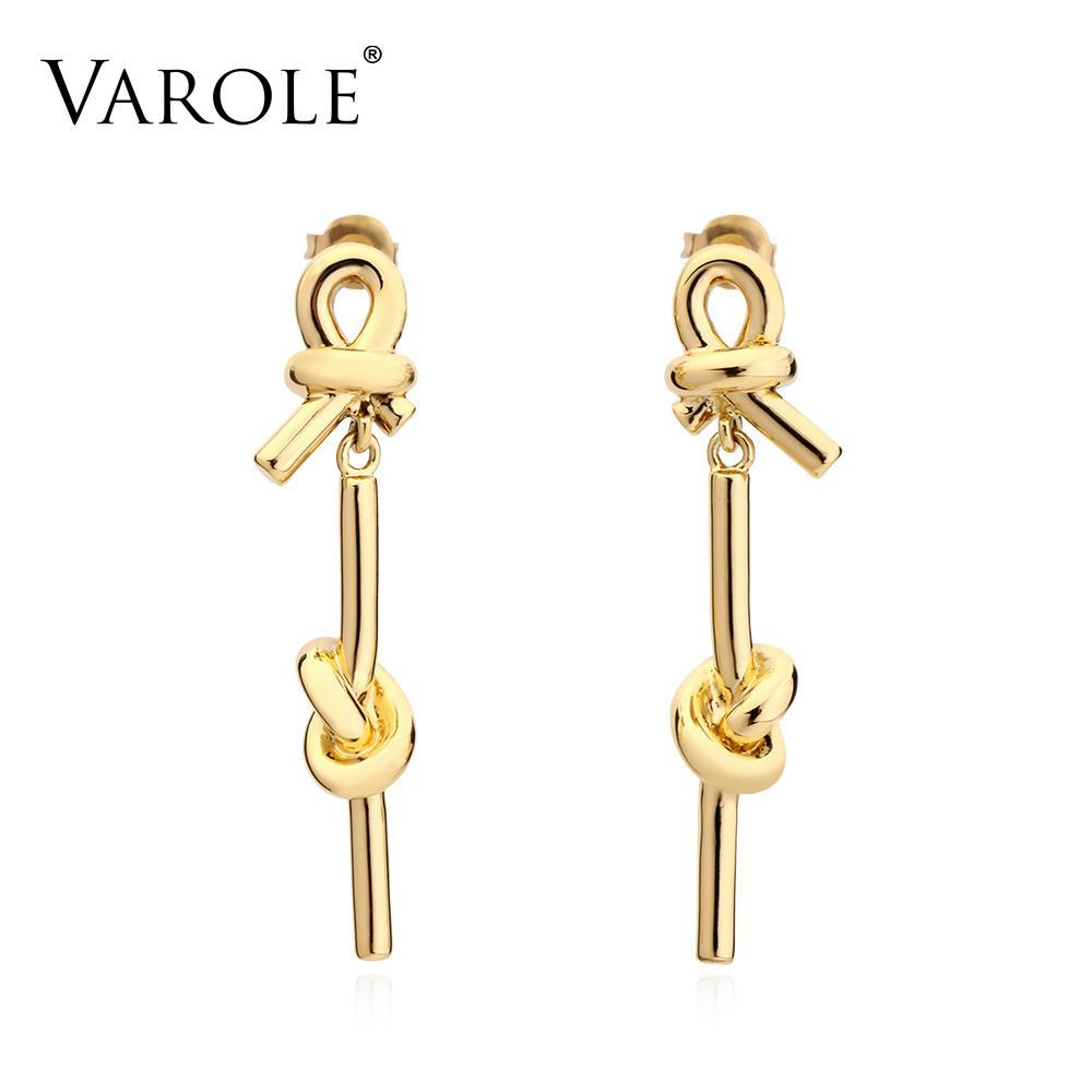 VAROLE New Style Earring Gold Color 100% Drop Copper Earrings for Women Big Long Earrings Jewelry brincos