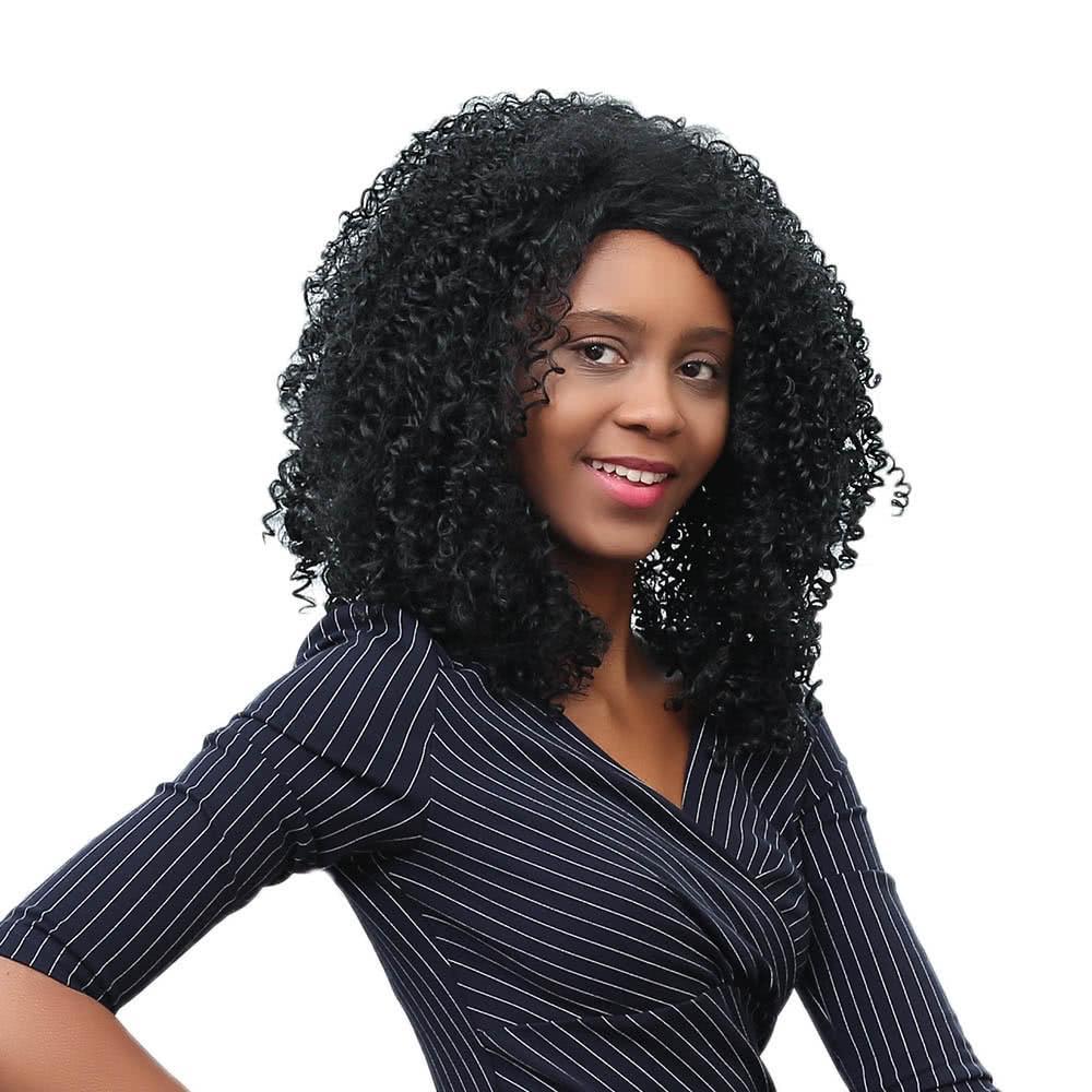 17 '' Donna Lunga Parrucca per capelli ricci Parrucca sintetica Fibra sintetica Parrucca Shaggy Ricci Parrucca Black Fashion Parrucche con cappuccio in pizzo W4167