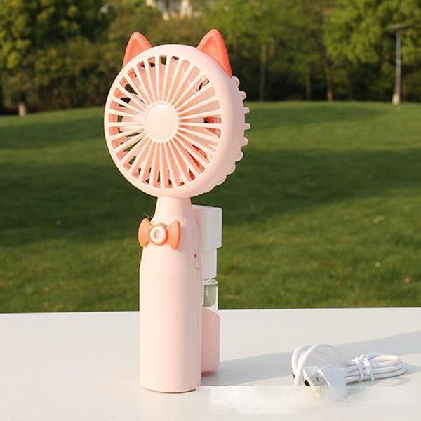 Mignon dessin animé ventilateur de pulvérisation de couverture net air mobile à main de frais l'été en plein air conditionné portable ventilateur pour les étudiants plats chauds
