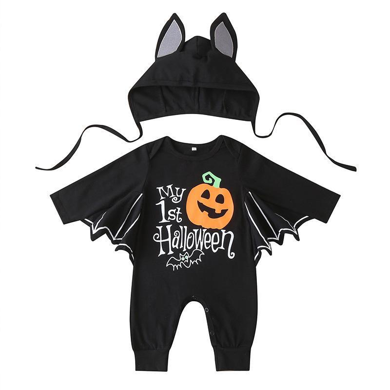 2020 Unisex 2 adet Pamuk Bebek Erkek Giysileri Kabak Bebek Cadılar Bayramı Seti Kapüşonlu Tam Kollu Romper Bebek Kız Giysileri Giyim Setleri Q0105