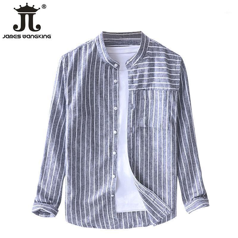 2019 Newest Mens Vintage Lino Algodón Transpirable Rayas Limitadas Cómoda Manga Larga Camisas Casuales   Tamaño: M-XXXL1