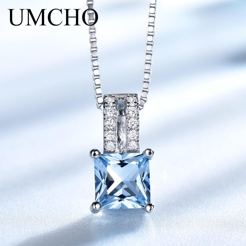 Umcho Cadenas elegantes perchas 925 joyas de plata esterlina hecha cielo azul topaz cadena boda para mujeres encadenadas veneno