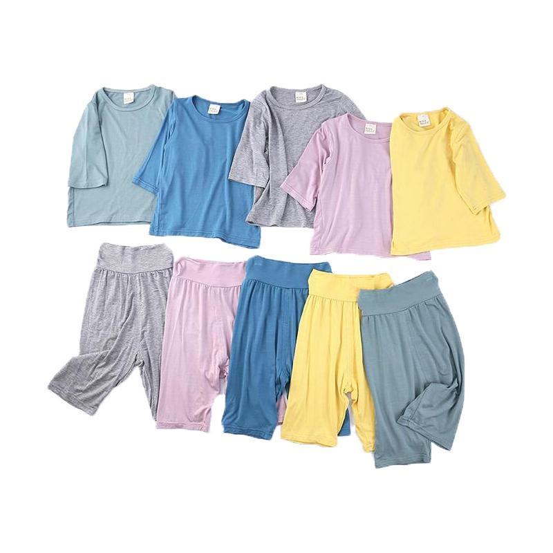 2 teile / satz Kleinkind Kinder Nachthemd Kinder Mädchen Jungen Infant Casual Sleepwear Nachtwäsche Home Thermal Pyjama Sets Sommer Herbst 201031