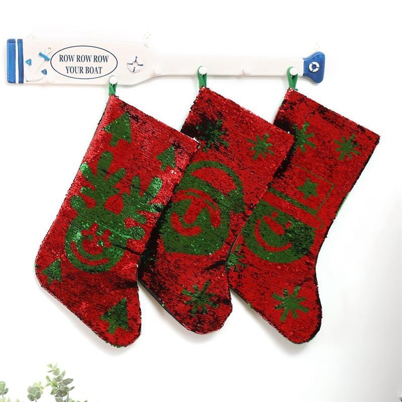 Lantejoulas reversíveis christmas pendurado meia vermelho verde Papai Noel boneco de neve alces peúgas de Natal xmas árvore pingente meias decoração