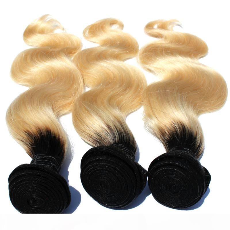 T1b 613 Ombre Blonde Haarbündel 8inch-30inch dunkle Wurzeln mit # 613 Körperwellenhaar-Webart Brazilian Remy Menschliches Haar