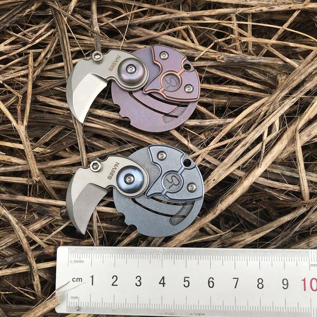 Münzform Stonewashed Titan Griff S35VN Scharfe Klinge Mini Leichte Gewicht Tasche Falten Multifunktions Wandern Klappmesser MNE Geschenkwerkzeug