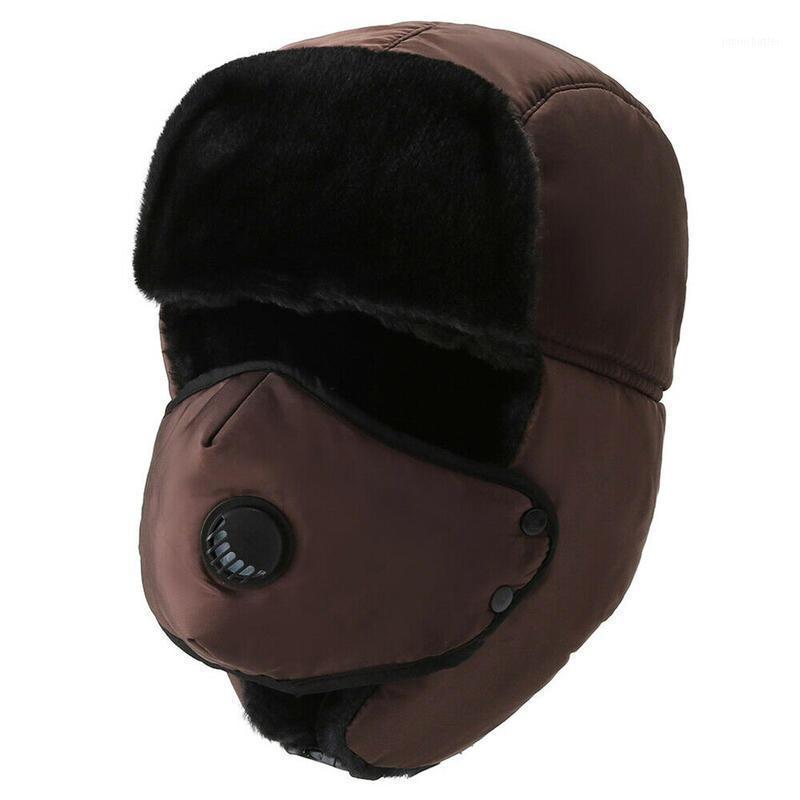 Men Winter Warm Trooper Trapper Hat Faux Fur Baseball Bomber Cap Face Mask Cover Solid Color Windproof Travel Casual Cap1