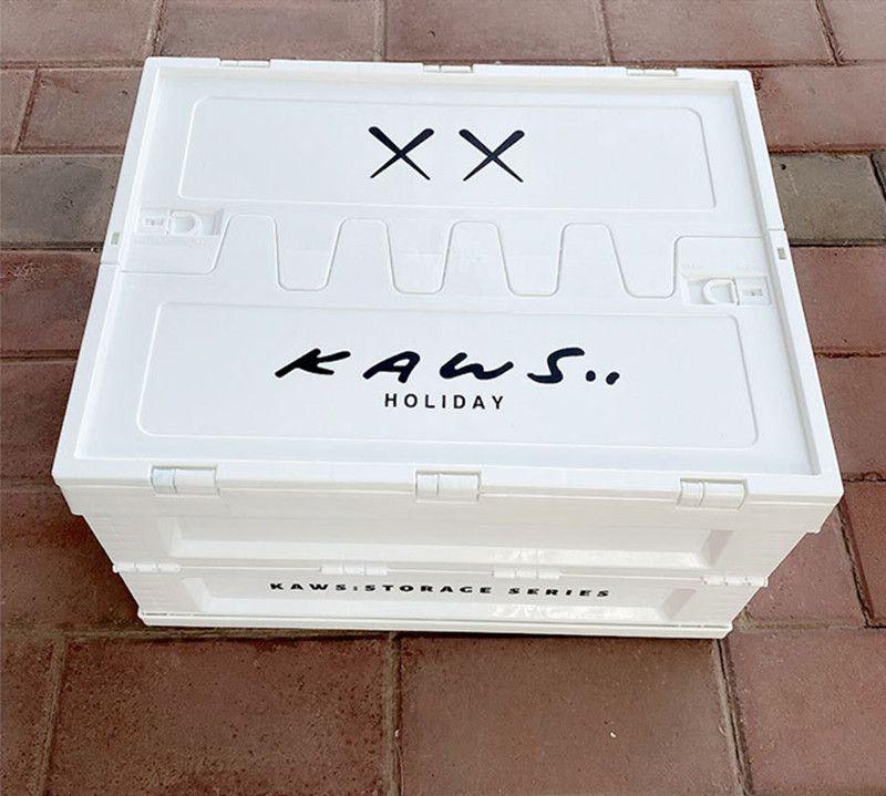 Kaws صناديق تخزين صناديق 30 * 41 * 45 سنتيمتر الرئيسية سيارة جذع للطي تخزين مربع منظمة البلاستيك الأبيض أزياء بالجملة