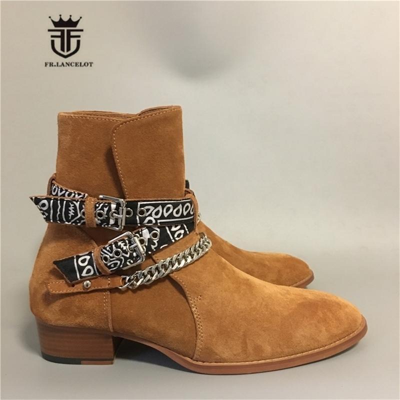 Neue High END Luxus Exclusive Ribbon Schnalle Strap Echtes Leder Sliver Kette Cowboy Rock Street Personalisierte Boots 201126