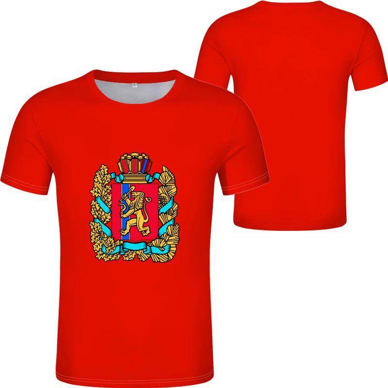 KRASNOYARSKIY shirt free custom made name number KRAI Krasnoyarsk t-shirt print flag word russian russia Syndassko blue clothing