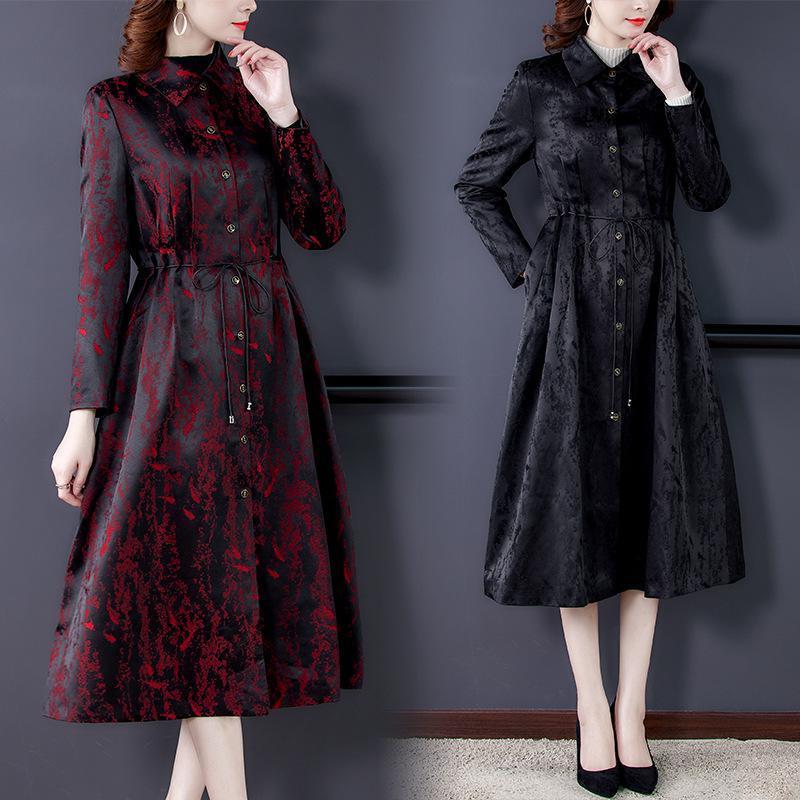 Fashion Women's Trench Coat Slim Long Winderbreaker 2020 Nuevo Primavera Otoño Impresión de una sola pecho Abrigo Outwear con cinturón 4xl