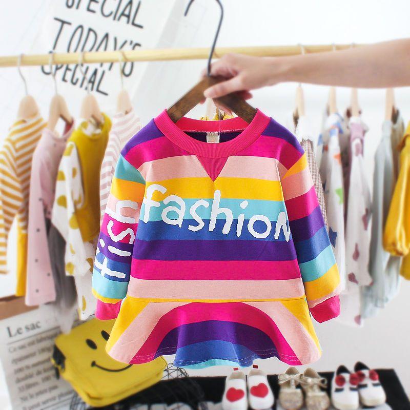 Sweat-shirt Filles Robe 2020 Printemps Nouveau Coréen Style Baby Girl Fille Fashionable Princess Robe Robe à rayures d'arc-en-ciel