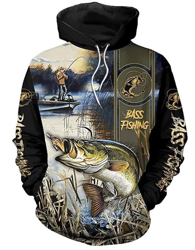 Over Fashion Animal Felpa Felpa con cappuccio Bass Fishing Stampato 3D Tutta Felpa con cappuccio Harajuku Streetwear Unisex Casual Tracksuit DW254