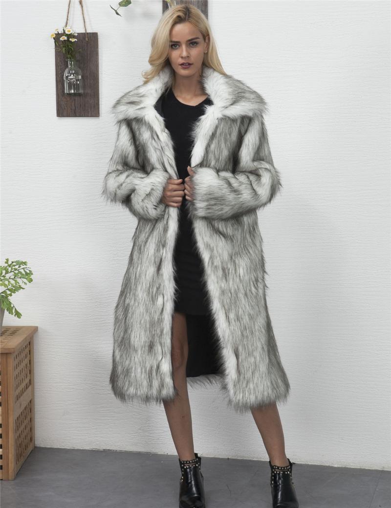 Faux de fourrure Femme Faux X-Long Womens Mantears Pensez encolure carré manches longues Femme Veste Femme Chaud Couleur solide Vêtements de taille avec poches