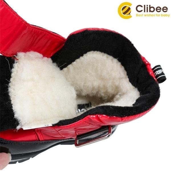 CLIBEE Kız Erkek Kış Kar Botları Çocuklar Sıcak Su Geçirmez Kaymaz Anti-çarpışma Yüksekliği-Kesim Açık Ayakkabı Çocuk Çizmeler 22-27 Q1214
