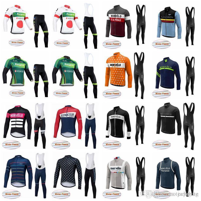 Morvelo Europcar Team Mens Cycling Winter Thermal Fleece Jersey Pantalones de babero Conjuntos de invierno Termal Fleece Use Bike Maillot Ropa S21012845