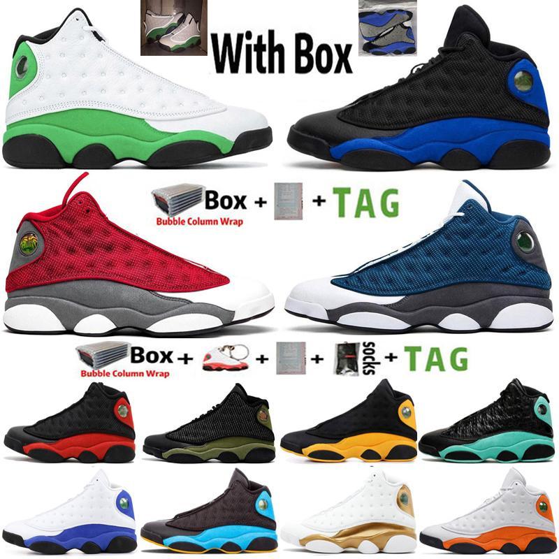 2021 Kutusu ile Yüksek Jumpman 13 Şanslı Yeşil Hiper Kraliyet 13 S Erkek Basketbol Ayakkabı Kırmızı Flint Mahkemesi Mor Denizyıldızı Sneakers Eğitmenler Boyutu 13