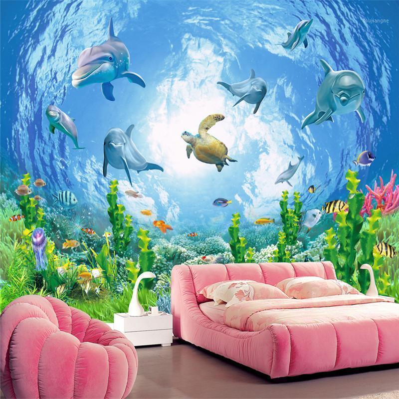 Tapeten youman individuell anpassen 3d foto tapete cartoon wandbilder die verträumte unterwasserwelt für wohnzimmer kinderzimmer gerät prägen1