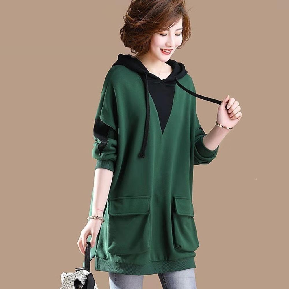Универсальная женская кимоно Корейский длинный модный рукав Свободная осень / зима 2019 Новая большая средняя длина жира мм хлопок капюшон