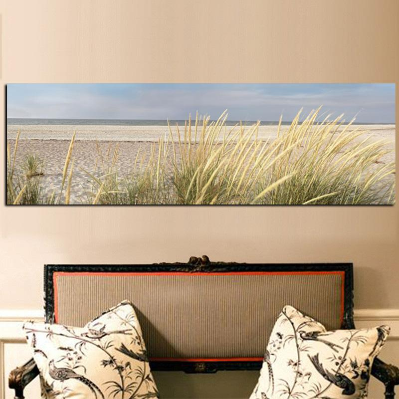 Sky Island Sand Dunes Tail Grass Canvas Painting Seascape Beach Landscape Posters and Prints Cuadros Wall Art Picture Home Decor