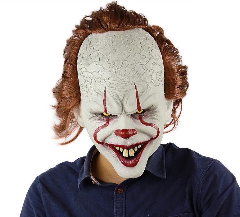 Stephen King's Joker Mask Silicone Movie Full Face Face Horror Clown Latex Maschera di Halloween Party Masks orribile Prop Cosplay TTA1789