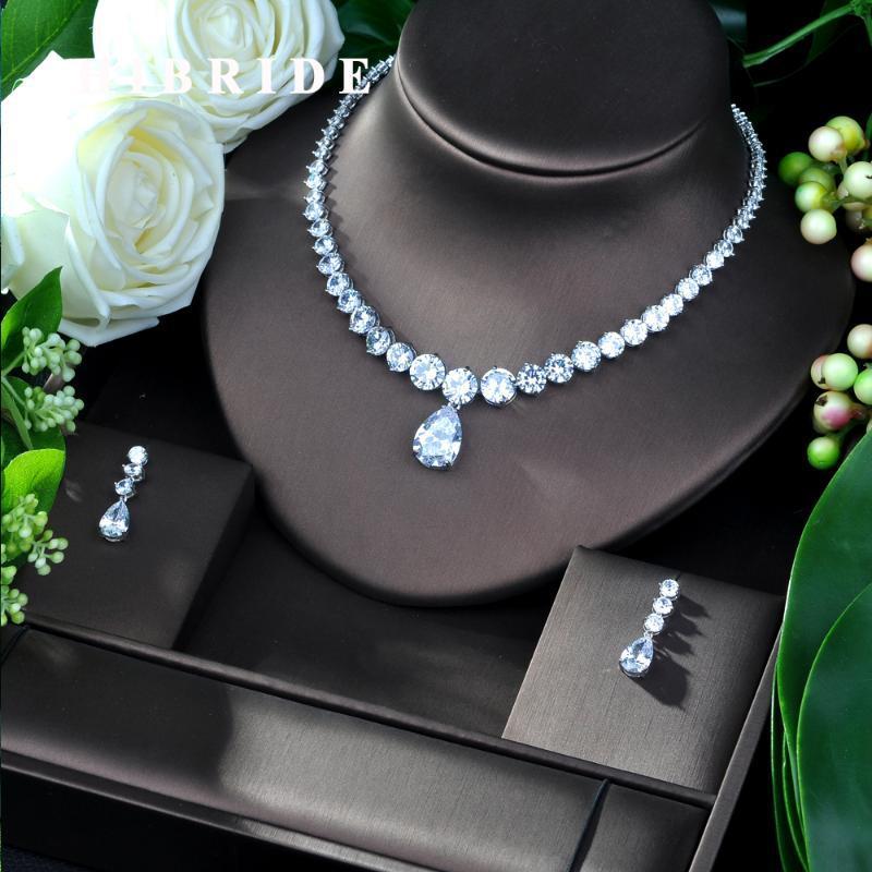 Hibrid Lüks Büküm Kadın Nijeryalı Düğün Gelin Kübik Zirkonya Kolye Dubai 2 adet Takı Seti Mücevherat Bağımlılığı N-239