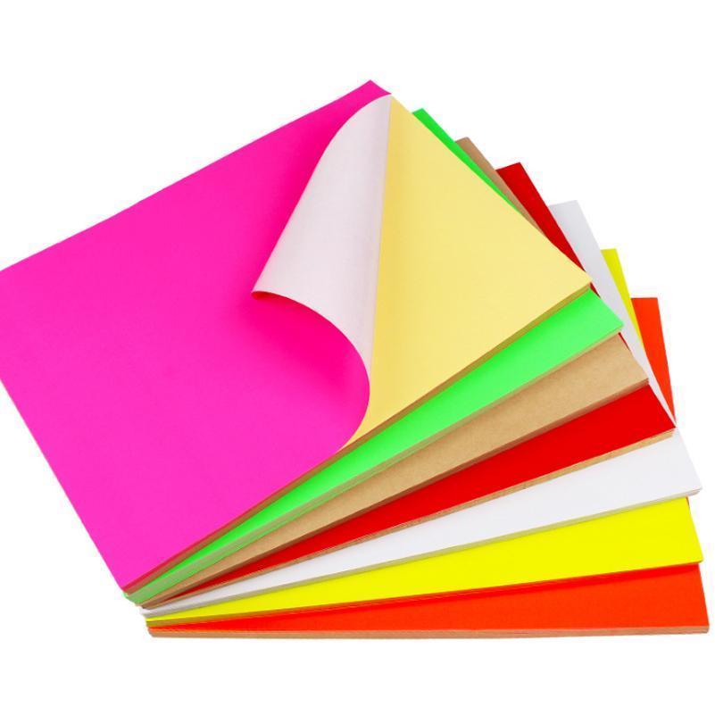 100Sheets A4 Colorido Adesivo Em Branco Adesivo Auto Adesivo A4 Kraft Papel para laser jato de tinta Impressora Embalagem Etiqueta 11 SE BBYWKF