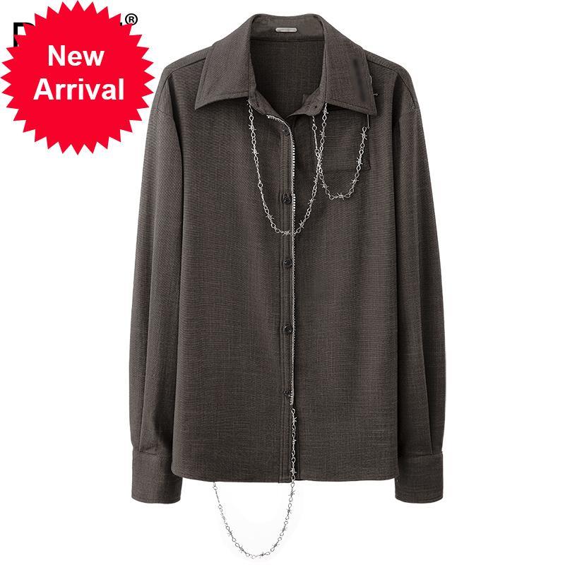 DEAT 2020 Yeni Sonbahar ve Kış Moda Rahat Zincir Uzun Kollu Gevşek Kişilik Sokak Giyim Üst Gömlek Kadın SG882