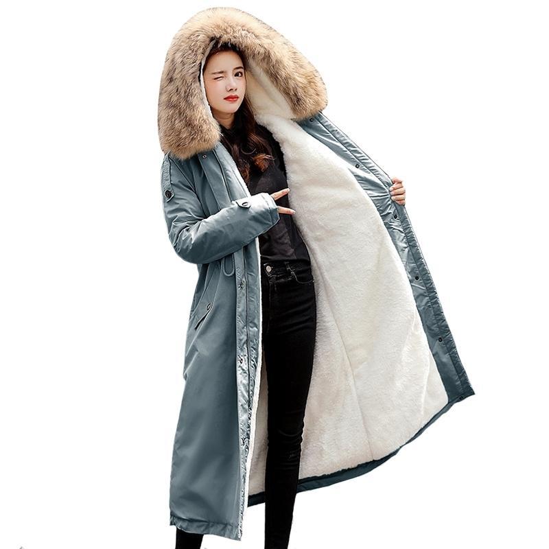 -30 degrés neige Wear X-Long Parkas Veste d'hiver Femmes fourrure à capuche Femme Howoat Doublure Doublure épaisse Winter Coat Femmes Clothess 201030